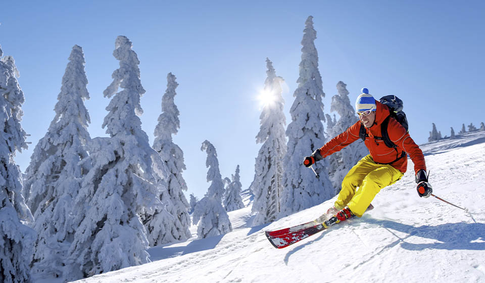 Skier practicing skiing in the Valdezcaray resort, in La Rioja