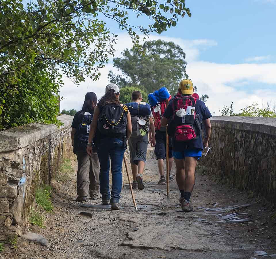 Pilgrims doing the Camino de Santiago between Burgos and La Rioja